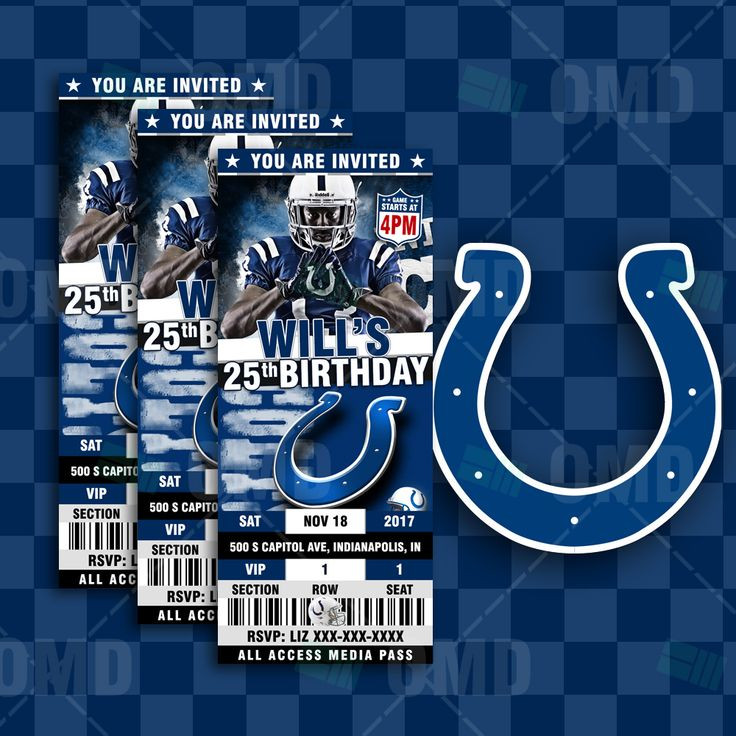 Indianapolis Colts Ticket Style Sports Party Invites