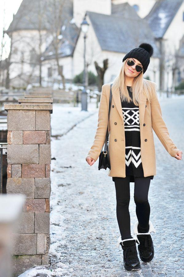 Après-ski | Make Life Easier - camel coat/jacket, sweater, leggings and boots