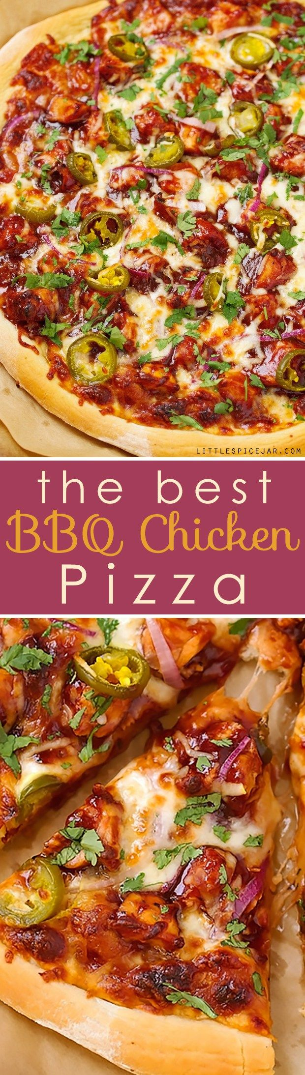 BBQ Chicken Pizza - made with grilled chicken, sliced jalapenos and red onions, and cilantro, So good you'll never go to CPK again!#bbqchickenpizza #chickenpizza #bbqpizza   Littlespicejar.com @littlespicejar