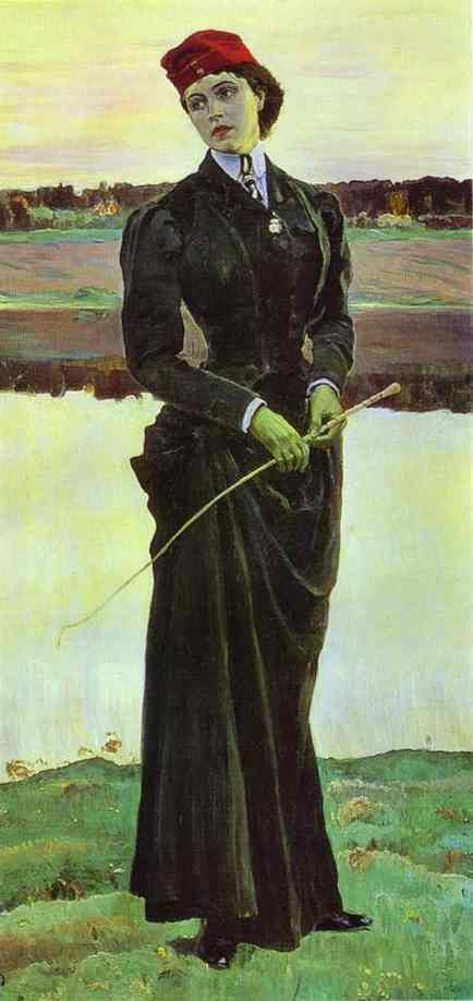 Mikhail Nesterov - Portrait of Olga Nesterova, Known as A Woman in a Riding Habit, Oil on canvas