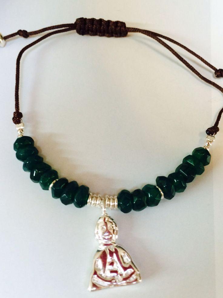Pulsera macramé ónix verde y amuleto
