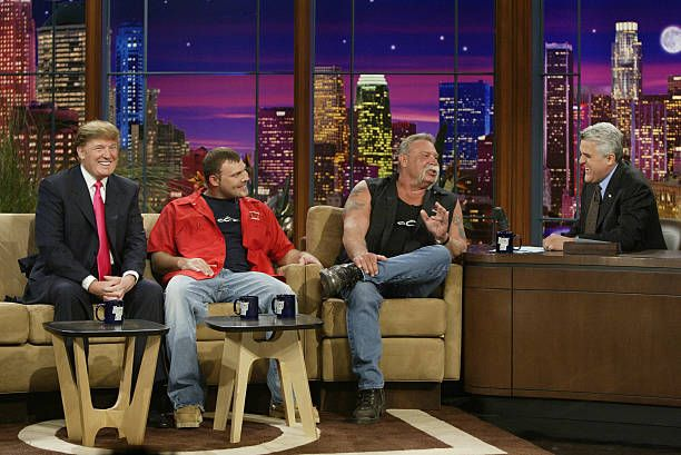 Television personality Donald Trump and reality television stars Paul Teutul Jr and Paul Teutul Sr during an interview with host Jay Leno on April 7...