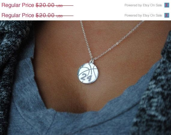 HOLIDAY SALE: Custom Basketball Necklace with any number mirrored acrylic by Chicago Factory