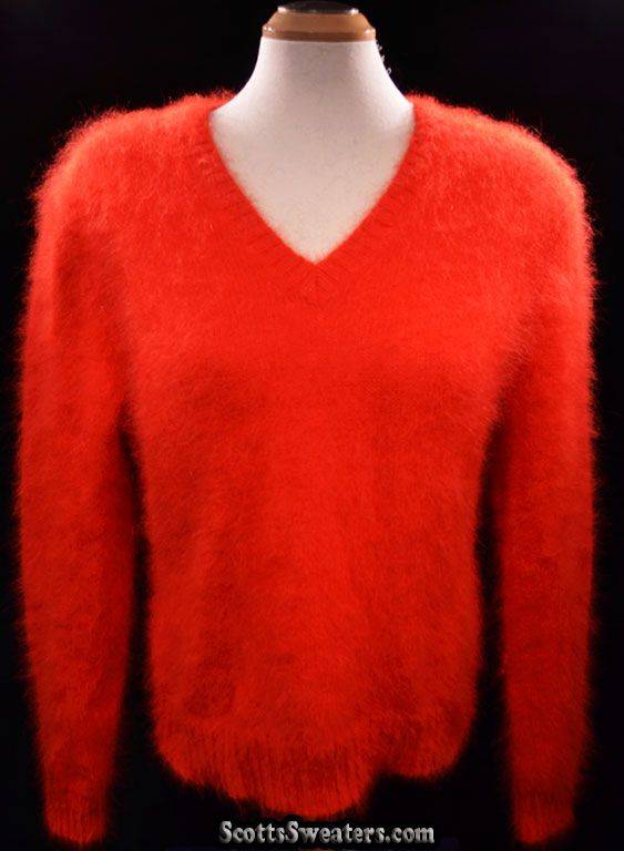 614-042 Woman's Soft & Fuzzy Bright Red Angora Sweater