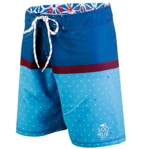 Boardshort BUDDY bleu 4-way Flex en polyester recyclé