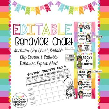 Behavior Clip Chart with Editable Clip Covers and Behavior Report Sheet for behavior management in your classroom. INCLUDES an editable monthly behavior report and editable clip covers for those boring old clothespins! Fun rainbow colors with adorable coordination Melonheadz kidlettes!  ***************************************************************************** How to get TPT credit to use on future purchases:  Please go to your My Purchases page (you may need to login).