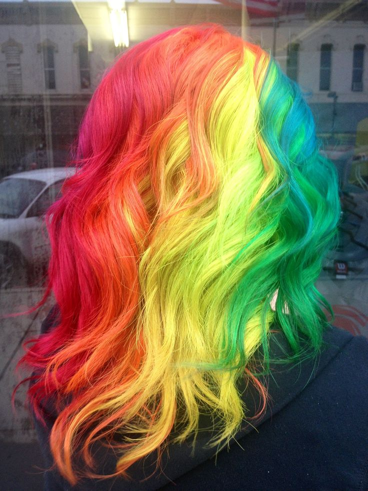 Long rainbow hair | ... blue pink purple long yellow ... - photo#47