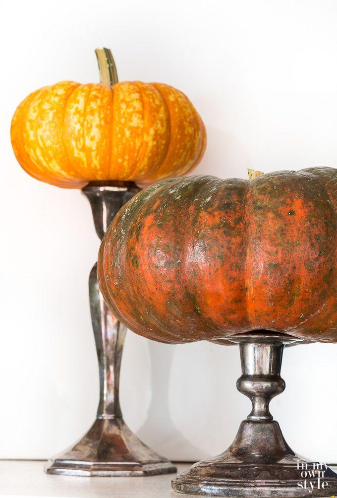 Pumpkin Decorating Ideas using candle holders #pumpkins