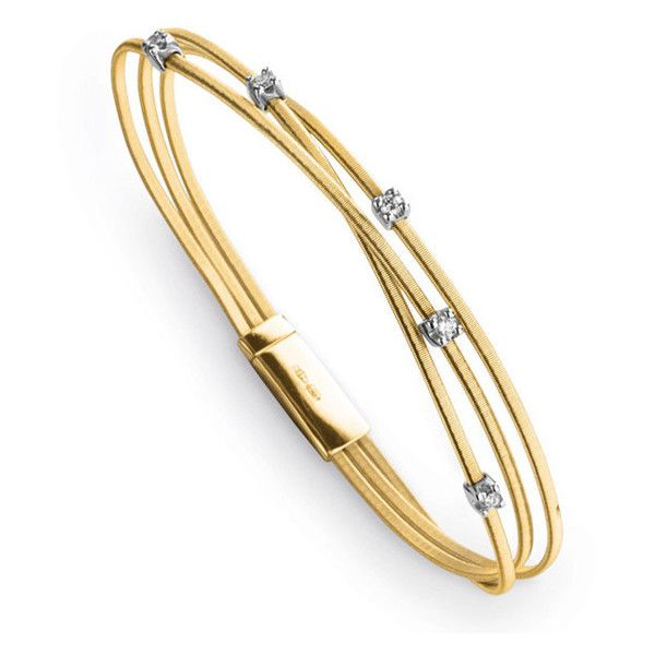 Marco Bicego Goa 18kt Yellow Gold 3 Strand Diamond Station Bracelet ($3,120) ❤ liked on Polyvore featuring jewelry, bracelets, gold diamond bangle, hinged bracelet, gold hinged bracelet, gold jewelry and handcrafted jewelry