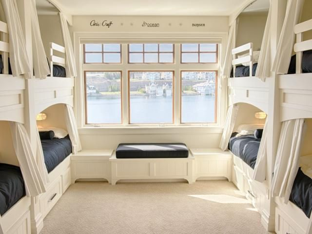 Guest room with built-in bunk beds