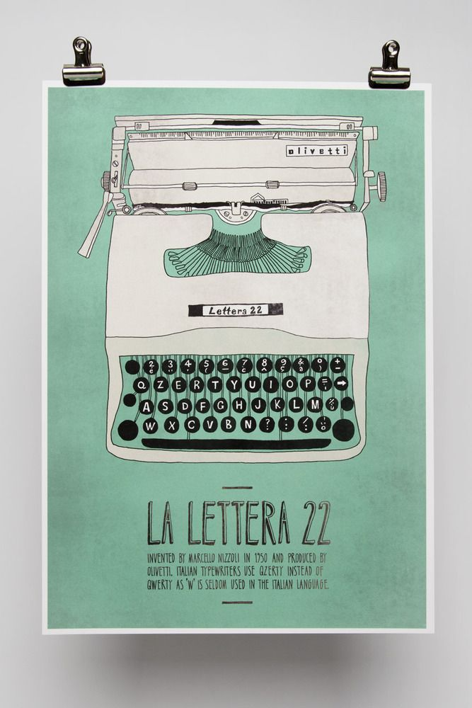 Illustrated poster printed on Hahnemühle FineArt Photo Rag 310gsm.    Part of the Italian Inventions series, La Lettera 22 was invented by Marcello Nizzoli in 1950.
