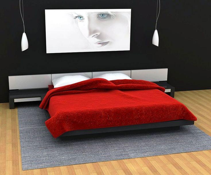 Camera da letto nelle tonalità rosso e grigio n.12