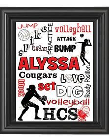 Personalized Volleyball Art Print great for your room or on your locker door. Perfect for the whole team!!!