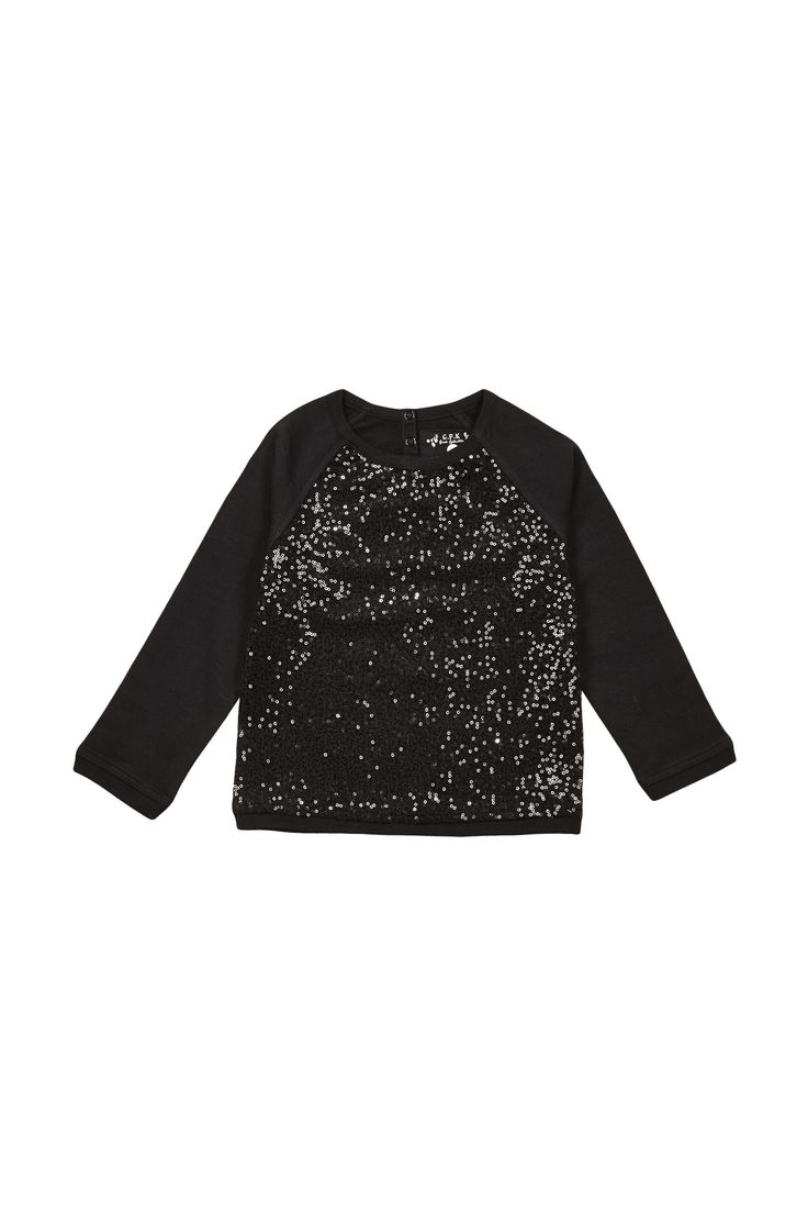 Top en coton et sequins Siléa Noir Monoprix Kids en promotion sur MonShowroom.com