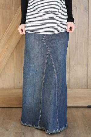 Pearly Vintage Long Jean Skirt with Elastic Waistband