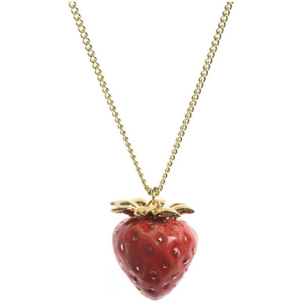 Strawberry Necklace ($39) ❤ liked on Polyvore featuring jewelry, necklaces, red pendant, leaves jewelry, red pendant necklace, red necklace and and mary jewelry