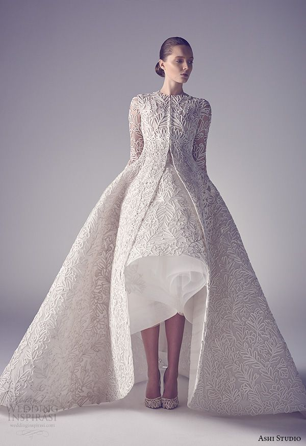 Ashi Studio Spring 2015 Couture Collection...More beautiful details to recreate for that ultimate bridal look.Get the designer look without the designer $$$, have it custom-made.Try different fabric & embellishments combinations to fit your wedding theme.