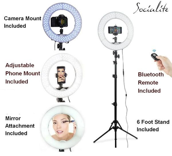 Socialite 12 Inch Led Ring Light Kit Incl Ring Light 6 Foot Stand Dslr Iphone Mount Remote Aurora Led Led Light Kits Led Ring Light