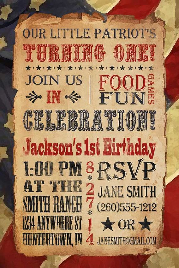 Vintage Patriotic Fourth of July Birthday by GracefulCelebrations, $10.00