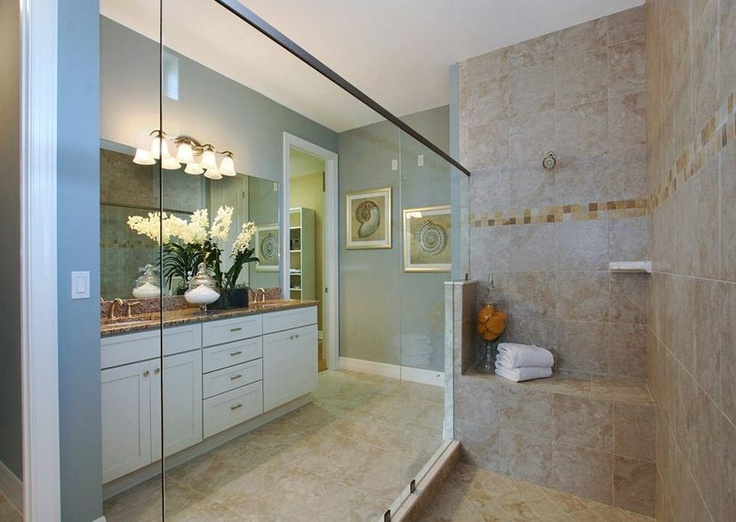 Zero Entry Shower And Beautiful Granite In This Bathroom