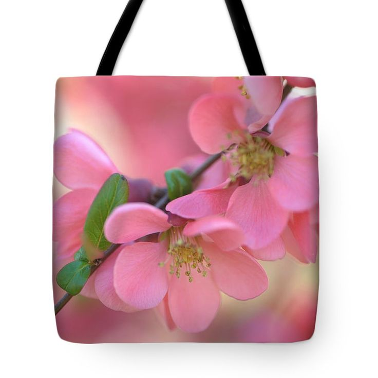Pink Spring Marvels Tote Bag by Jenny Rainbow.  The tote bag is machine washable, available in three different sizes, and includes a black strap for easy carrying on your shoulder.  All totes are available for worldwide shipping and include a money-back guarantee.