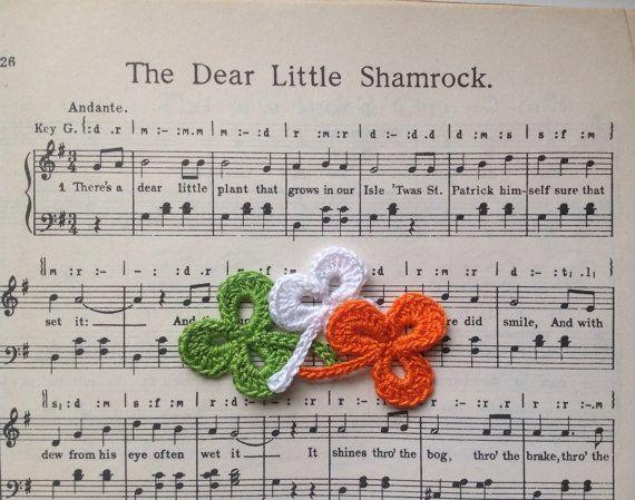 Tricolour Irish Handmade Lace Shamrocks with Made by HuggleKnits