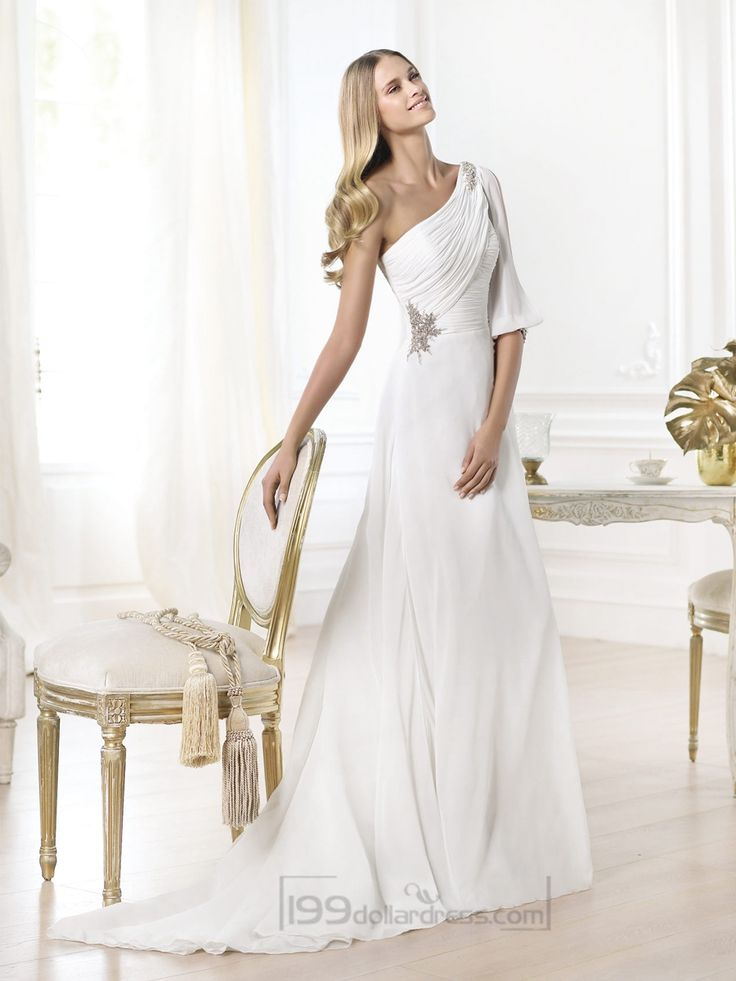 Stunning One-shoulder Draped A-line Wedding Dresses with Opened Shoulder-length Sleeve