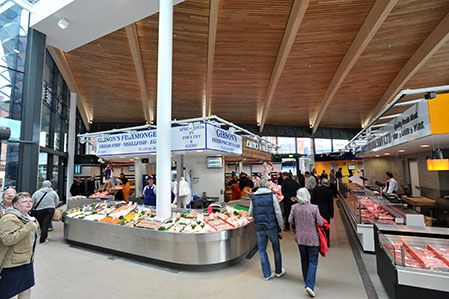Interior of the new market food hall at Leicester Market