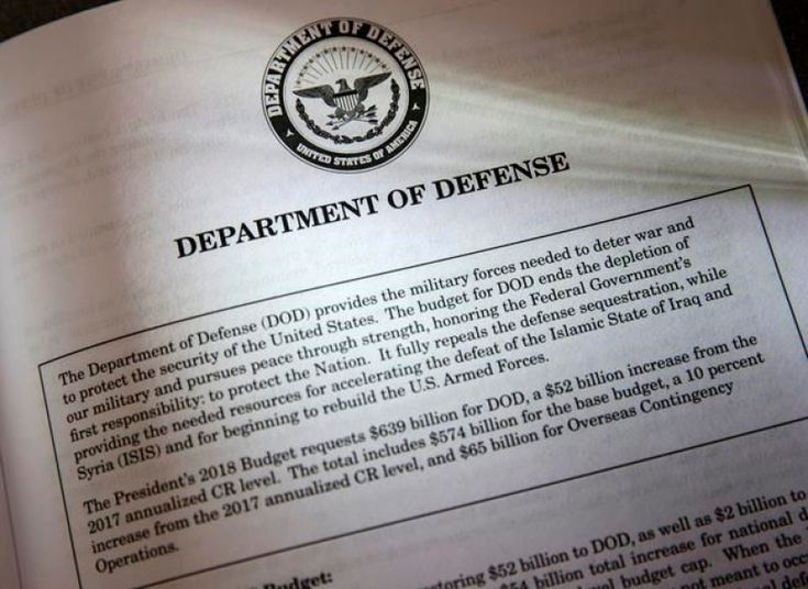 Proposals for the Defense Department in President Donald Trump's first budget  are displayed at the Government  Printing Office in Washington, Thursday,  March, 16, 2017. An essential element is missing from President Donald  Trump'Äôs plan for boosting the  budgets of the U.S. military services by  $54 billion in 2018. How, exactly, does  the commander in chief intend to use the world'Äôs most potent fighting  force? (AP Photo/J. Scott Applewhite)  Trump's defence budget boost raises…