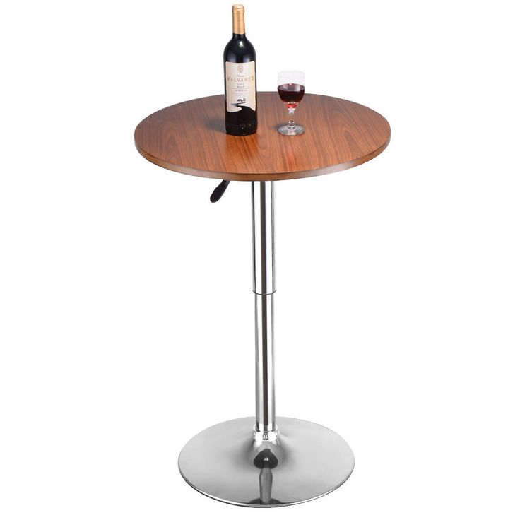Costway Modern Round Bar Table Adjustable Bistro Pub Counter Wood Top Swivel Indoor, Grey chrome