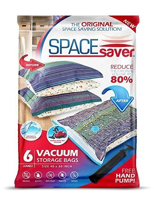 SpaceSaver PremiumJUMBO Vacuum Storage Bags (Works With Any Vacuum Cleaner + FREE Hand-Pump for Travel!) Double-Zip Seal and Triple Seal Turbo-Valve for 80% More Compression! (6 Pack)