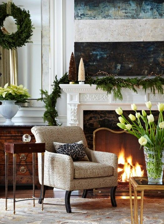 next yr i'll hang wreaths like this in front of my mirrors by bedside tables....when i get those wreaths out of storage (but that's next yr!) (storage is an hour drive away :)  )