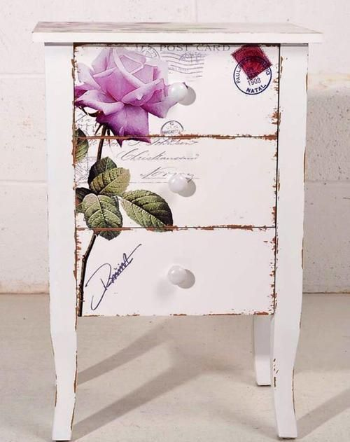 Beautiful nightstand with rose transfer furniture i for Furniture transfers