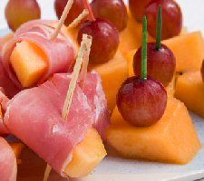 Melon & Procuitto appetizers. Great party idea. This site has some other good ones.