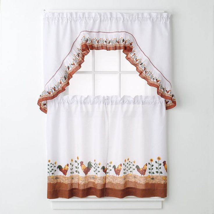 United Curtain Co. Roosters 3 Pc. Kitchen Curtain Set