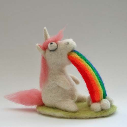 Needle Felted Rainbow Puking Unicorn by Sofakitty on DeviantArt