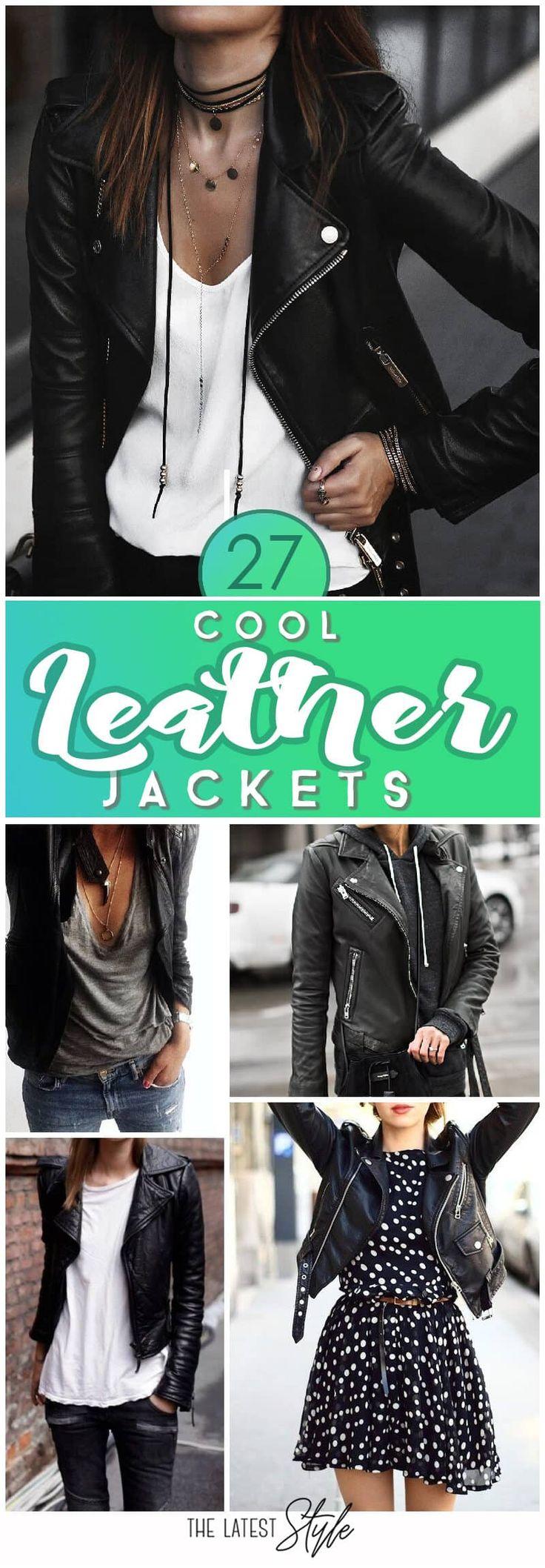27 coole Lederjacke-Outfits für diesen Herbst – #coole #DamenLederjacke #diesen…