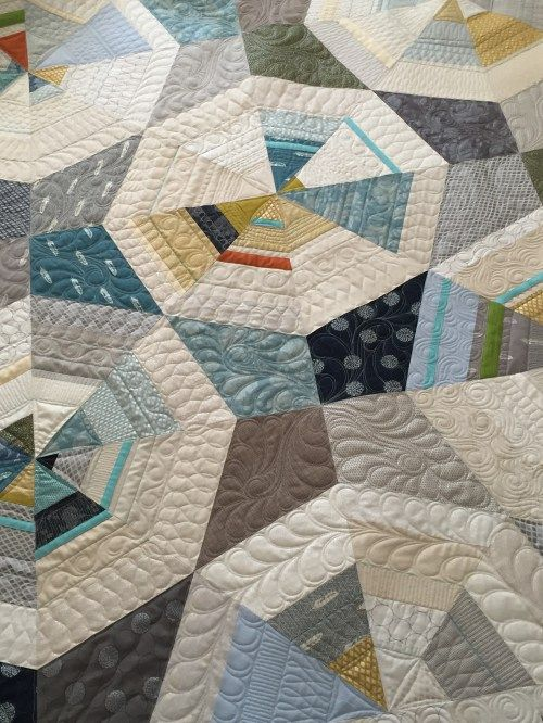 Octagon Shimmer Quilt. Pattern by Jennifer Sampou, quilted by Vicki Ruebel of Orchid Owl Quilts.