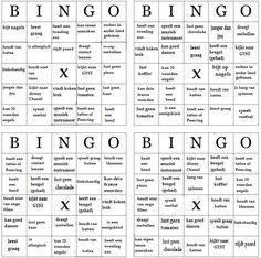"""Elke leerling krijgt een van de 4 Bingo kaarten. de leerlingen mogen nu rouleren door de klas (zoals bij een speeddate) ze mogen elkaar  1 van de """"eigenschappen"""" vragen (zit jij op voetbal?) is het antwoord in overeenstemming met een van de hokjes op de kaart in de handen van de leerling, dan mogen ze dit hokje wegstrepen. (evt. de naam van de betreffende leerling erin zetten) Wie het eerste Bingo heeft, heeft gewonnen....Het doel is natuurlijk elkaar beter leren kennen..."""