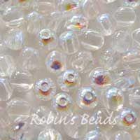 50 RounDuo® két lyukas gyöngyök 5mm Crystal AB