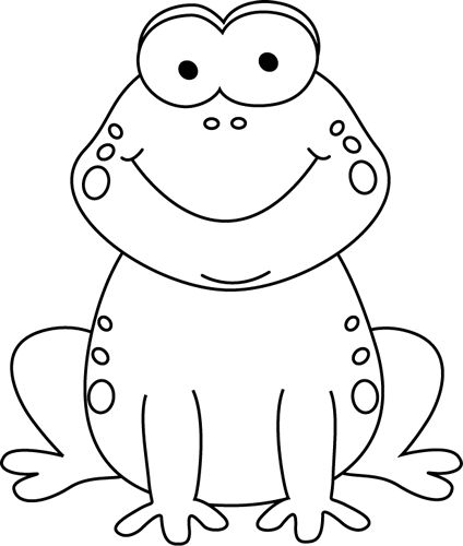 Black and White Cartoon Frog  Clip Art
