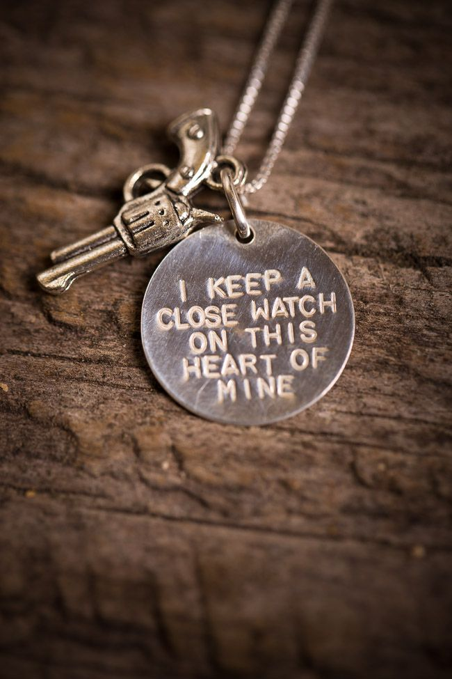 """Silver Johnny Cash Necklace   """"I keep a close Watch on this heart of mine!"""""""