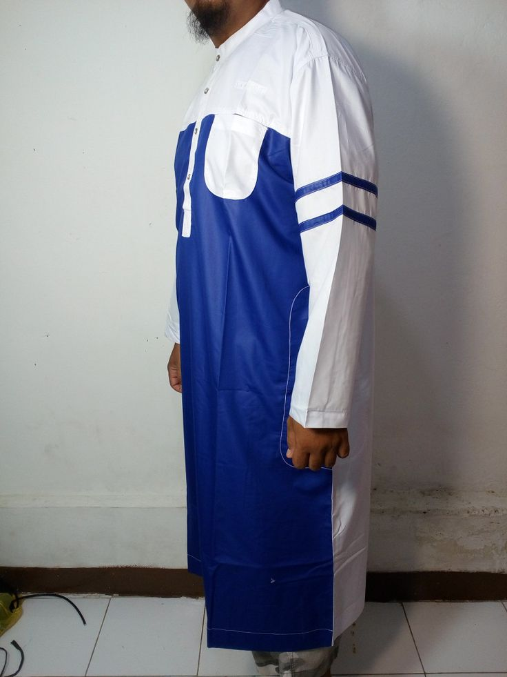 Baju Kurung Laki-Baju Gamis Atas Mata Kaki-Baju Jubah Pria Warna biru putih Lengan Garis-Baju Muslim Samase