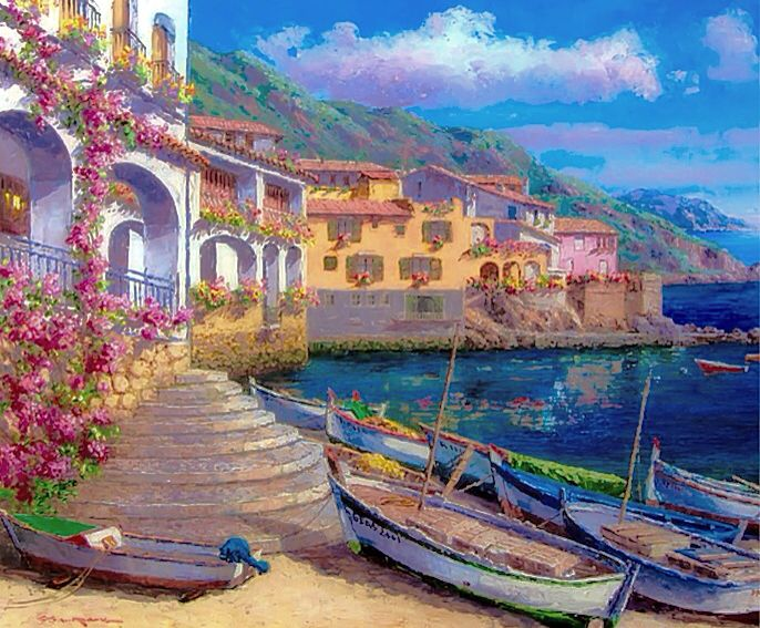 ART~ The Fishing Boats Idling Lying By As Clouds Sail Across A Summer's Sky…