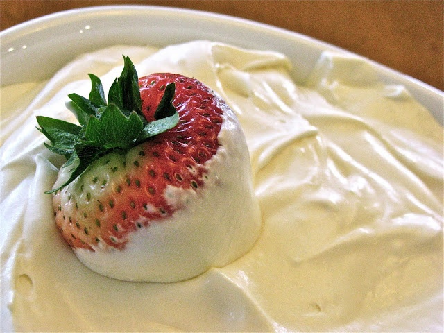 Creamy Fruit Dip - Whipping Cream, Cream Cheese, Sweetened Condensed Milk (I subbed 3/4 of 8oz. cool whip for the whipping cream & used 1/3 less fat cream cheese)
