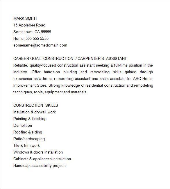 11+ Carpenter Resume Templates Free Printable Word  PDF Sample