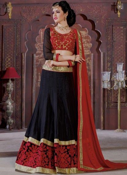 Black Silk Lehenga Choli With Resham Work