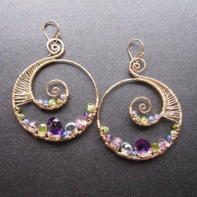 14k gold filled nautical hoops wire wrapped amethyst peridot topaz tanzanite gemstone earrings