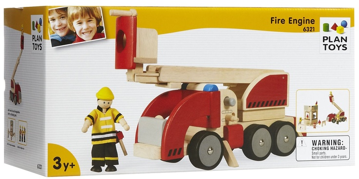 Plan Toys Fire Engine With Plan Toys Fire Engine, children can play the role of a fireman to save the day. They can enact rescue operations for hero pretend play. Age: 3 years and up Features Comes with rotating and extendable ladder, fire hose and fire extinguisher Stimulates creativity and imagination Designed with water-based dyes and paints Made from recycled and eco-friendly rubber wood Encourages questioning and learning Made in Thailand
