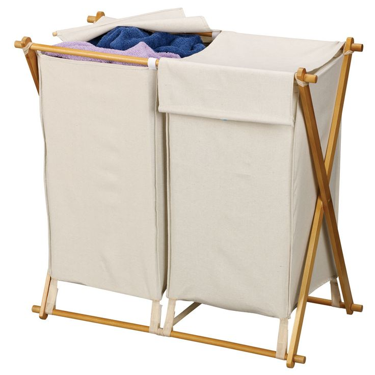 Features:  -Double hamper.  -Collapsible frame for easy storage.  -Polyester…